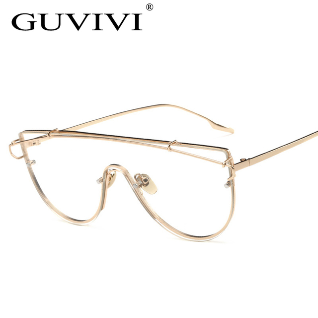 2017 GUVIVI New Unique Gold Optical frame Silver Oversized Metal ...