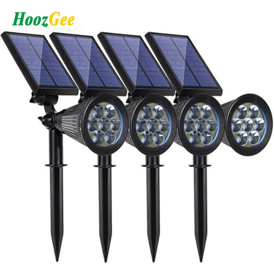 HoozGee Solar Spotlight Lawn Flood Light Outdoor Garden 7 LED Adjustable 7 Color in 1 Wall