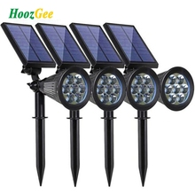 HoozGee Солнечный прожектор для газонов открытый сад 7 светодио дный LED Регулируемый цвет в 1 настенный светильник пейзаж свет для Патио Декор