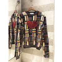 Senior Cashmere Pullover Women's Turtleneck Round Collar Women's Warm Sweater Knit Colorful Plaid Embroidered Sweater