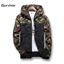 ISurvivor 2017 Frühling männer Camouflage Mantel Mens Hoodies Beiläufige Jacke Marke Kleidung Herren Windbreaker Mäntel Männlichen Outwear 5XL