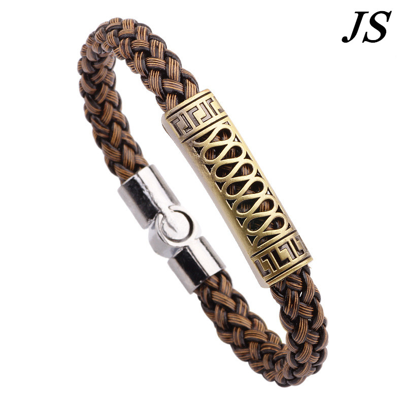 JS 2016 Cool Charm Metal Bracelet Men Latest Design Braslet Bangle Male Punk Leather Jewelry Pulseira Couro Masculina LB012