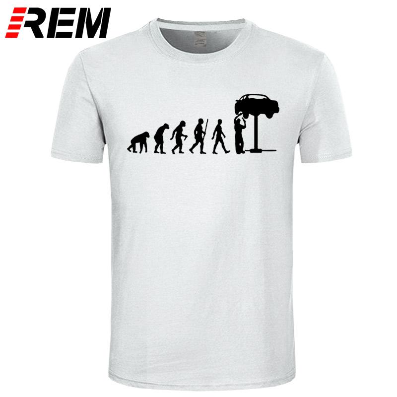 HTB1aykeeC3PL1JjSZPcq6AQgpXa3 - REM Summer Style Evolution Auto Mechaniker Mechanic Car T-Shirt Tops Funny Gift T Shirt For Men Tee