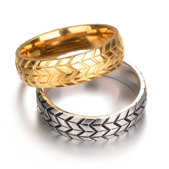 Lord Of The Rings Wedding Band.Us 2 39 20 Off Stainless Steel Men S Tire Veins One Ring Wedding Male Engagement Band Jewelry Car Fans Love Lord Of Rings In Rings From Jewelry