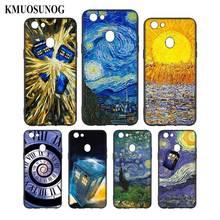 Silicone Phone Bag For OPPO F5 F7 F9 A5 A7 R9S R15 R17 Black Soft Case Van Gogh Tardis Style