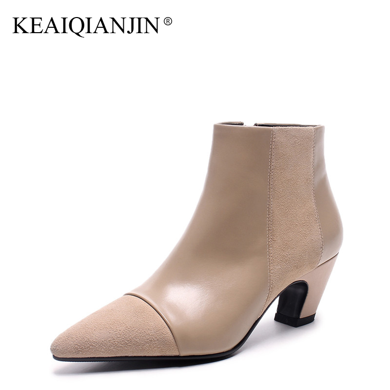 KEAIQIANJIN Woman High Heeled Ankle Boots Black Apricot Autumn Winter Genuine Leather Shoes Fashion Pointed Toe Ankle Boots 2018 leather in the boots 2017 autumn and winter new fashion waterproof taiwan with rivets leather pointed high heeled female shoes