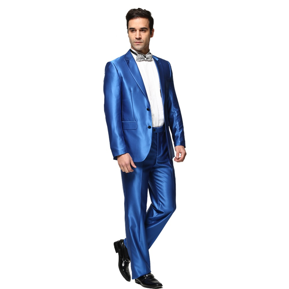 Aliexpress.com : Buy Shiny Blue Men's Wedding Suits Fashion Casual ...