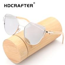 HDCRAFTER bamboo sunglasses women cat eye glasses alloy wooden frame  fashion Mirror Sunglasses Women Brand Designer uv400