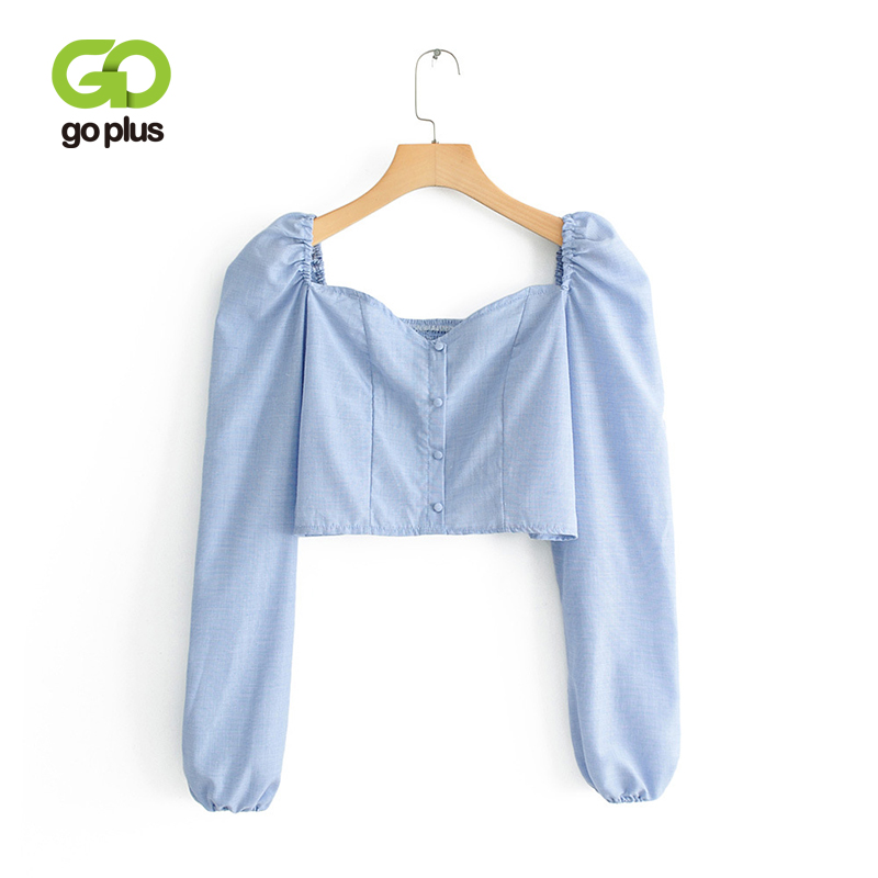 GOPLUS Vintage Square Neck   Blouse     Shirt   2019 Sexy Puff Long Sleeve Blue Short Tops Women Summer Single-Breasted Top Blusas C7824