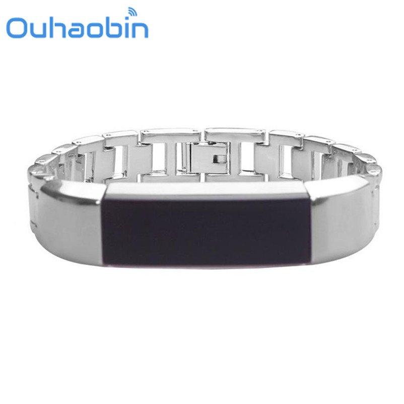 Ouhaobin Luxury Genuine Stainless Steel Watch Band Wrist Strap For Fitbit Alta HR Tracker Oct 9 Dropship