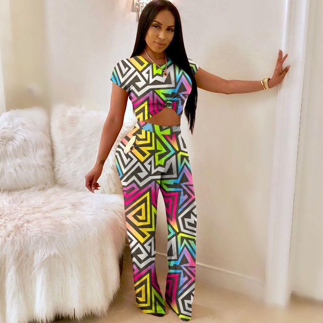 bf5ebd1f8b9c JRRY Casual Two Pieces Geometric Pattern Bodycon Women Jumpsuit Short  Sleeve Long Loose Pants Jumpsuits for Girls Ladies