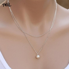 Aliexpress hot-selling street snap simple fashion double pearl womens necklace globally popular pendant