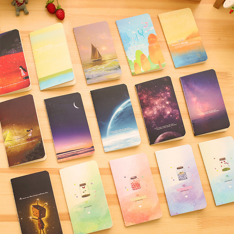 2Pcs/Lot New Wishing Bottle Galaxy Childhood Ocean 80K Mini Notebook Diary Pocket Notepad Graffiti Book Gift Stationery E0339