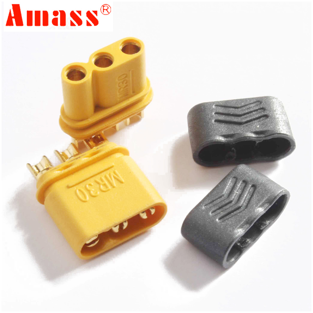 2pair AMASS MR30 Male Female Connector Plug with Sheath for RC Lipo Battery RC Multicopter Airplane