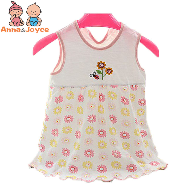 4pc/lot Baby Dresses 1-2 Years Girls Infant Cotton Clothing Dress Summer Clothes Printed Embroidery Girl Kids Dressa