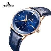 Риф Тигр Роскошные модные часы Для мужчин Топ марка розовое золото синий Водонепроницаемый Бизнес часы Relógio Masculino RGA8219