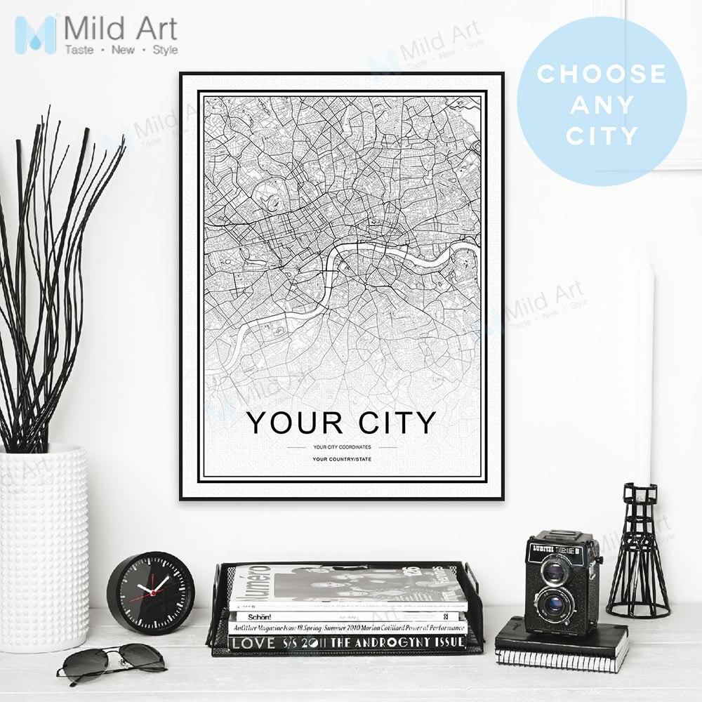 Cartaz personalizado Mapa Do Mundo Da Cidade Personalizado Estilo Nórdico Preto Branco e Presentes de Impressões Pintura Da Lona Arte Da Parede Pictures Decoração Da Sua Casa