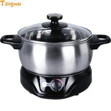 Частей 1.5L многофункциональная электрическая сковорода Горячая нержавеющая сталь студента Malatang мульти плиты медленноварки