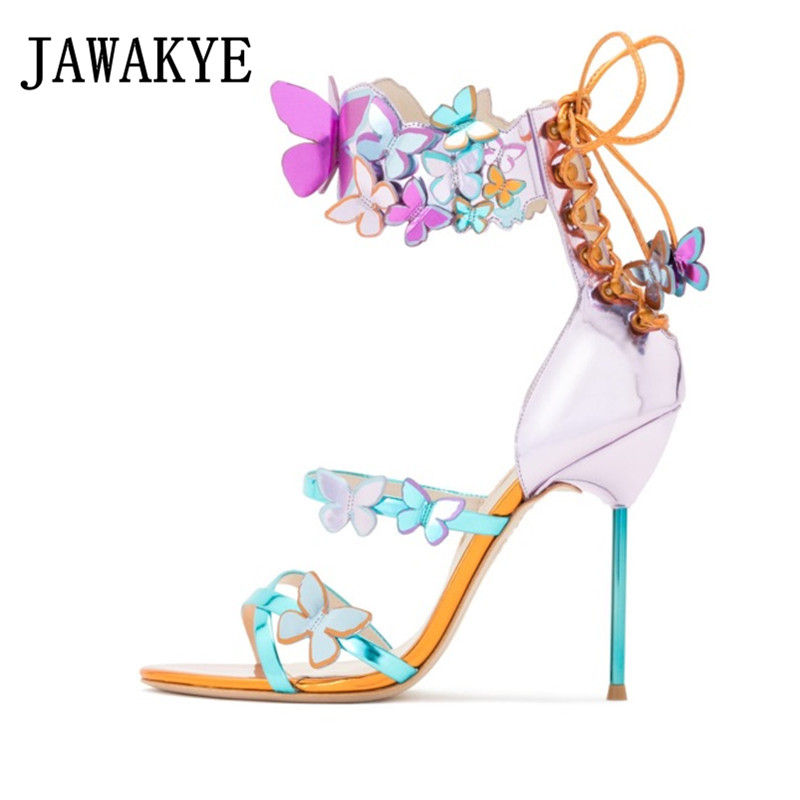 New Mirror Pink Butterfly Sandals Women Metal thin High Heels Summer Shoes Woman Ankle Strap lace up Party Shoes Sandalias mujerNew Mirror Pink Butterfly Sandals Women Metal thin High Heels Summer Shoes Woman Ankle Strap lace up Party Shoes Sandalias mujer