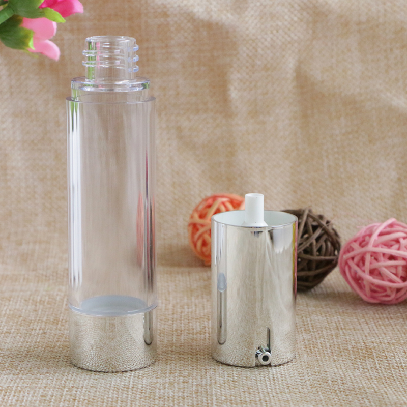 Купить с кэшбэком 15ml 20ml30ml Empty Airless Pump Bottles Packaging Silver Transparent Travel Vacuum Cosmetic Containers Plastic Bottle 10pcs/lot