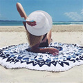 Summer Women Multifunctional Round Print Beach Towel Fringed Tassels Shawl Yoga Mat