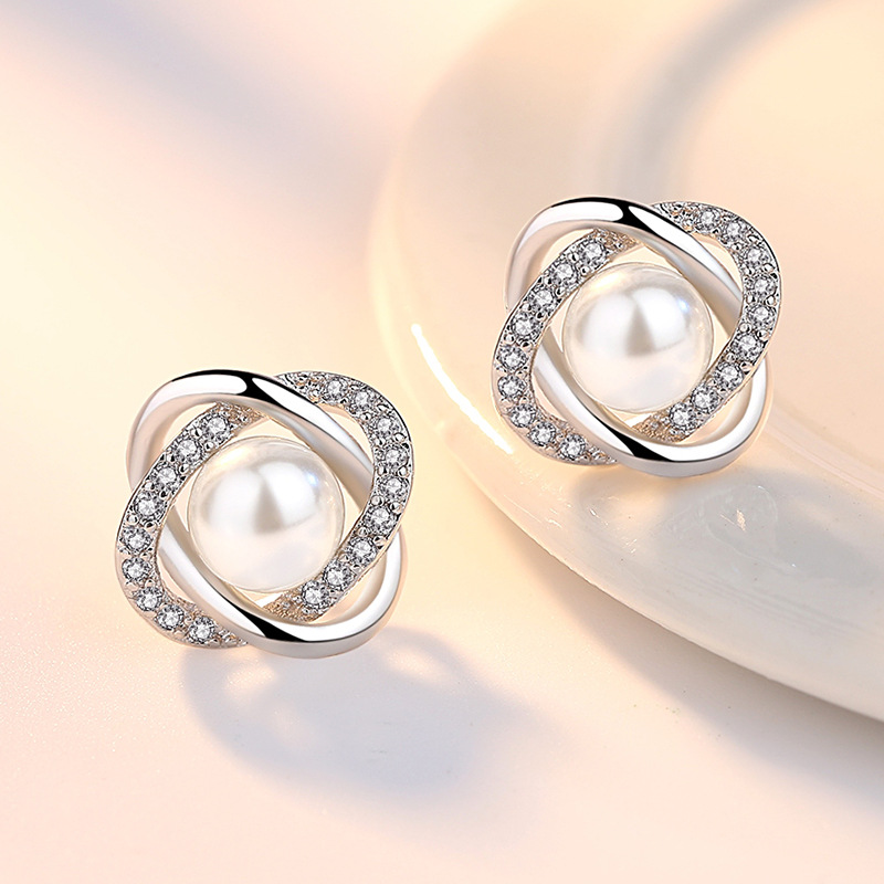 100% 925 sterling silver fashion pearl flower crystal ladies`stud earrings women jewelry female Christmas gift cheap