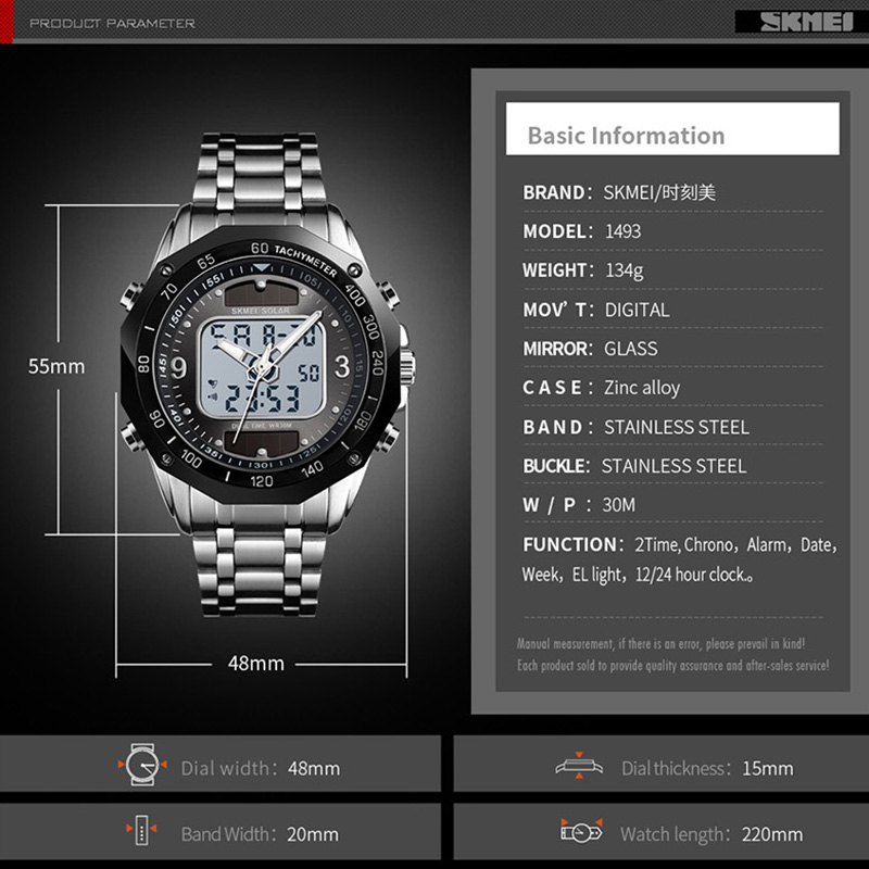 Image 5 - Solar Men Military Sport Watches Men's Digital Quartz Clock Full Steel Waterproof Wrist Watch relojes hombre 2019 SKMEI-in Quartz Watches from Watches