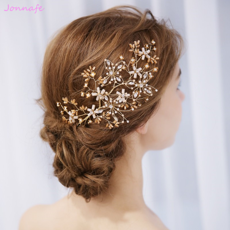 Wedding Hairstyles With Hair Jewelry: Jonnafe Gold Flower Hair Vine Bridal Piece Handmade
