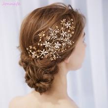 Jonnafe Gold Flower Hair Vine Bridal Piece Handmade Wedding Hair Accessories Jewelry for women party Crystal