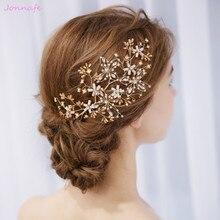 Jonnafe Gold Flower Hair Vine Bridal Piece Handmade Wedding Hair Accessories Jewelry for women party Crystal Headpiece