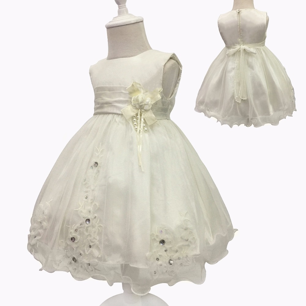 Free Shipping Beige Infant Dresses 2018 New Arrival Tulle Girl Baby Dress For 1 Year Birthday Toddler Newborn Christening Gowns