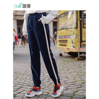 INMAN New Arrival Elastic Patchwork Stripped Sport Causal Women Pant