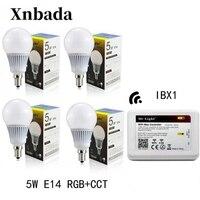 Mi Light Led Lamp 5W RGB+CCT E14 Led Bulb+ IBX2 RF Remote Wifi Led Spotlight light Dimmable Led light AC85 265V Free shipping