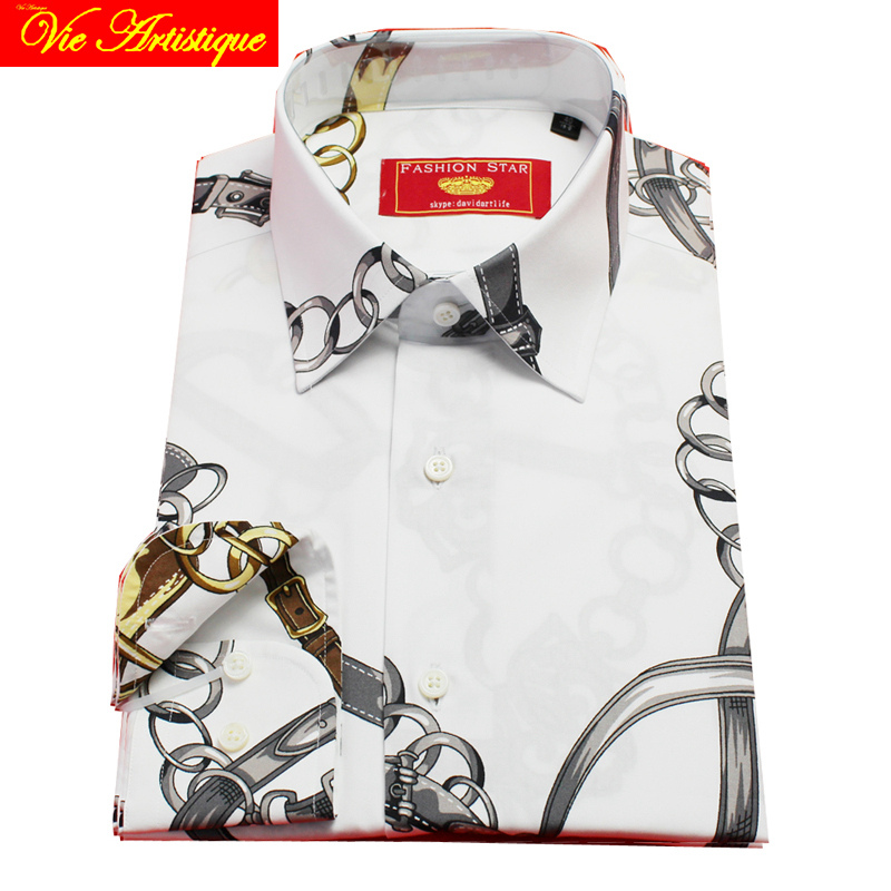 Custom Tailor Made Men's Bespoke Shirts Business Formal Wedding Ware Bespoke Blouse Golden Chain Floral Cotton Fashion David