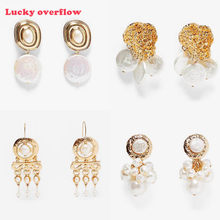2019 Fashion Statement ZA Jewelry Imitation Pearl Oval Gold Dangle Earrings For Women Geometry Vintage Earrings CE0573/11(China)