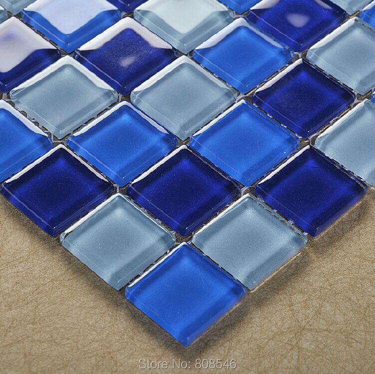 €190.35 |Cristal verre mosaïque 25x25mm mosaïque bleu mosaïque tuile MD  1330 mur carrelage salle de bain carrelage piscine papier peint-in Papiers  ...