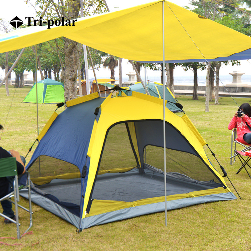 Tri - polar Super Large Automatic Camping Tent with Velarium Double Layer Outdoor Tent Outdoor Beach Camping Canopy TP2115Tri - polar Super Large Automatic Camping Tent with Velarium Double Layer Outdoor Tent Outdoor Beach Camping Canopy TP2115