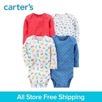 4pcs Cotton Long Sleeve Sweet Prints Bodysuits Sets Carter S Baby Girl Clothing Sets All Seasons