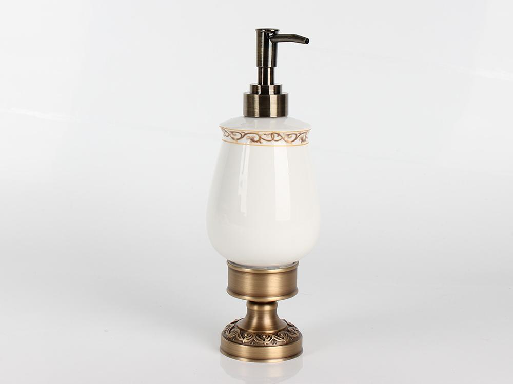 Desktop Antique Brass Liquid Soap Dispenser, Hotel Countertop Collection, Brass / Ceramic Material, Wall Mounted Holder