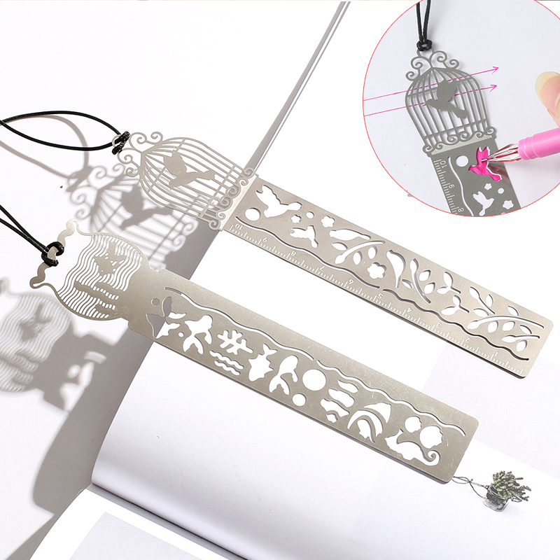 New Creative Hollow Out Metal Ruler Multifunction Bookmark Drawing Tools For Kids Students Gift Office School Supply Stationery