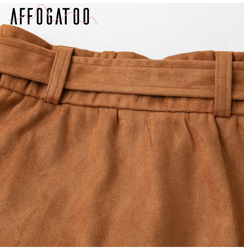 Affogatoo High waist suede leather skirts 18 Autumn winter belt ruched bodycon skirt Women asymmetric short skirts female 14