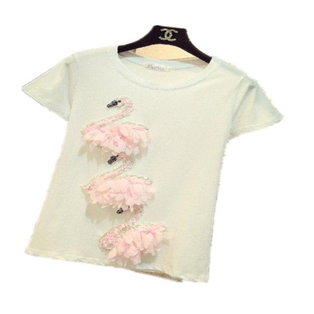 c5eb830ab10 Fashion Blusas 2018 Summer Best Friends T Shirt Korean Ulzzang Harajuku  Embroidery 3D swan T-