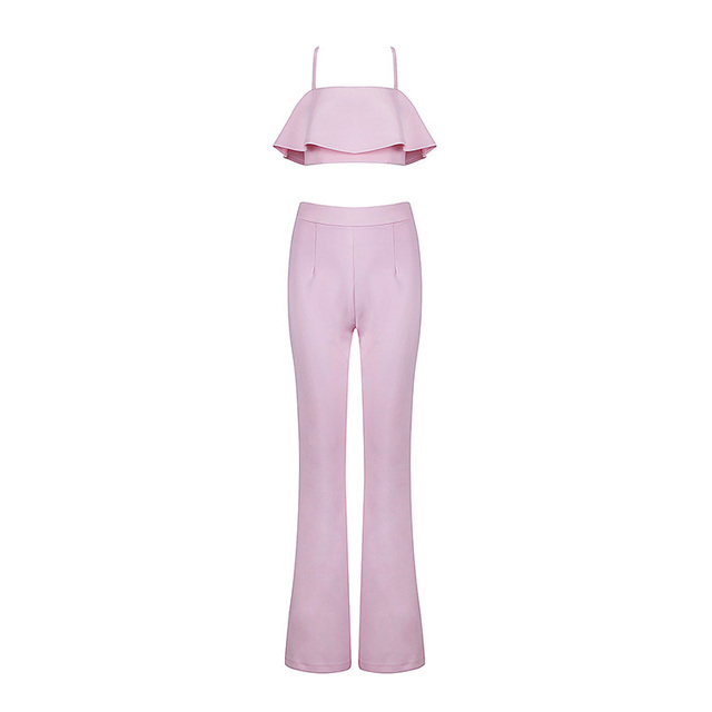 2016 Fashion New Jumpsuits for Women Summer Brand Pink Stretch Crepe Two Piece Jumpsuit