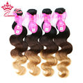 Queen Hair Products New Arrival Ombre Color 1b/#4/#27 Three Tone Virgin Brazilian Hair Body Wave Ombre Hair Extensions 4 pcs lot