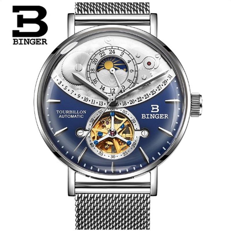 Switzerland Automatic Watch Men BINGER skeleton Mechanical Watches Full Steel Sapphire Relogio Masculino Waterproof reloj