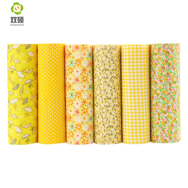 Tela de algodón Diseño sin repetición Serie Yellower Patchwork Tela Fat Quarter Bundle Costura para tela 6 piezas 50cm * 50cm A1-6-2