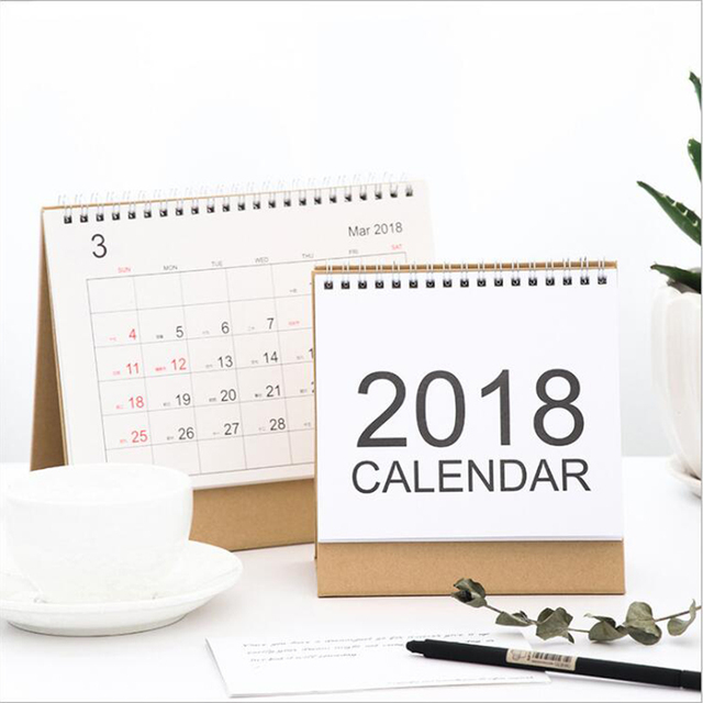 vintage clear 2018 calendar coil paper agenda office school stationery 2018 table calendar noted checking supplies