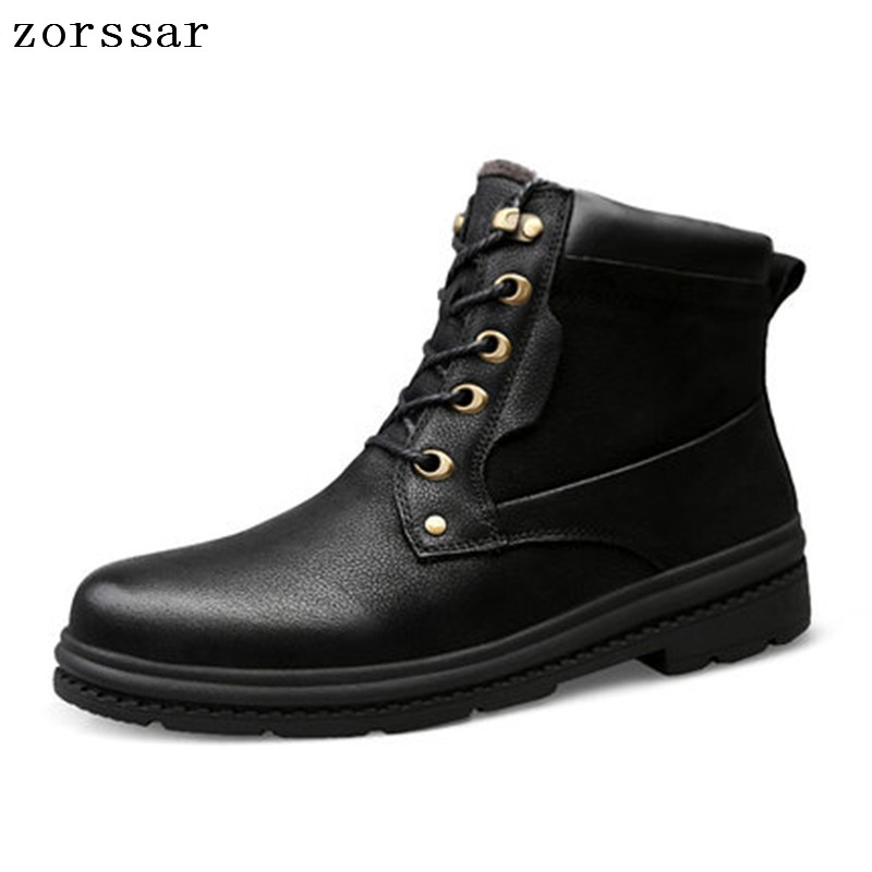 {Zorssar} 2018 New Super Warm Mens shoes Winter Genuine leather Ankle Boots Men Snow Boots Leisure Outdoor work shoes{Zorssar} 2018 New Super Warm Mens shoes Winter Genuine leather Ankle Boots Men Snow Boots Leisure Outdoor work shoes