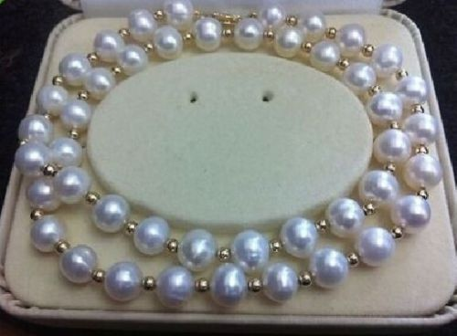18 HUGE GENUINE AAA ROUND 10-11MM SOUTH SEA WHITE PEARL NECKLACE 14k/20 beautiful genuine 18 aaa 10 11mm perfect round south sea white pearl necklace yellow clasp