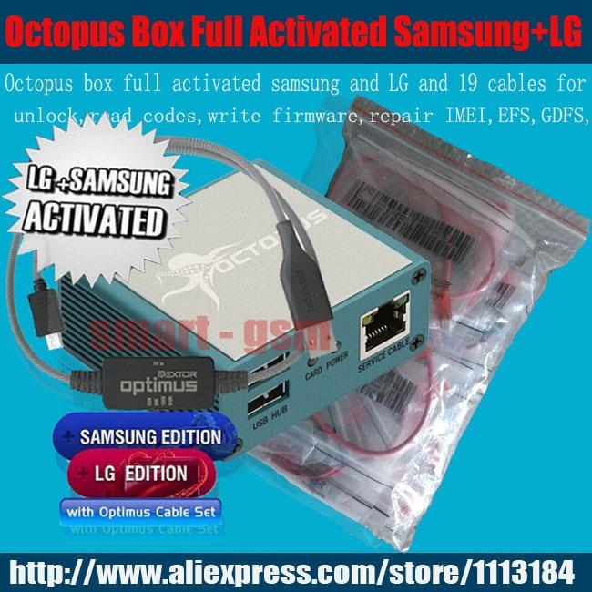 2016 boîtier poulpe d'origine entièrement activé pour LG et pour Samsung 19 câbles, y compris optimus jeu de câbles déverrouillage Flash et outil de réparation